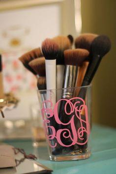 Monogrammed makeup brush holder