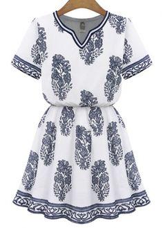 Rachel Zoe, Cheap Dresses, Summer Dresses, Women's Dresses, Blue And White Dress, White Tunic, Motif Floral, White V Necks, Dress To Impress