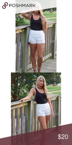 CCO Sale Crotchet Trim Shorts Lightweight lined shorts. Hidden side zipper   100% polyester. Boutique Shorts