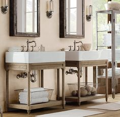 Console idea for wall mount sink.  Leaves an open feel without using a pedestal sink. Weathered Oak Single Console Sink. Restoration Hardware.