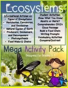 This product includes High Interest Informational Articles written in Kid-Friendly Language perfect for Grades 3-5! Articles are about the following environmental science topics:*Types of Ecosystems (Micro, Messo, Biomes)*Biomes: Aquatic and Terrestrial*Abiotic and Biotic*Herbivores, Carnivores, and Omnivores*Natural Cycles of Earth*The Balance of Nature