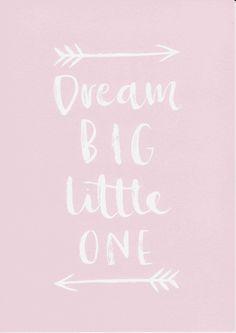 Dream Big Little One Print Girls Room Decor Baby Girl Nursery Print Pink Nursery Wall Art Baby Girl Gift Typography Print Nursery Poster by violetandalfie on Etsy