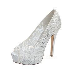 [£ 41.00] Women's Lace Stiletto Heel Peep Toe Platform Pumps Sandals (047053934)