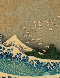 Japanese Ukiyo-e Woodblock print Katsushika Hokusai (部分)