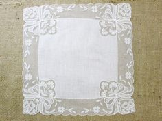 Vintage Wedding Handkerchief Hanky White Hankie by VintageLinens