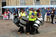 A bin-drumming display at the Artists' Market in Castle Square, Lincoln ahead of the Diamond Jubilee celebrations