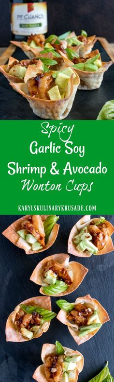 Spicy Garlic Soy Shrimp and Avocado Wonton Cups. This delicious #appetizer will make you the hit of the party! Simple to make, ready in under 30 minutes, the delicious marinade featuring P.F. Chang's Home Menu®️ Soy Sauce is an explosion of wonderful flavors. These delicious sauces are available exclusively at @walmart. #AuthenticMadeEasy #karylskulinarykrusade #fingerfood #shrimp #avocado #garlic #marinade #basil #spicy #pfchangs #walmart