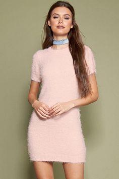 Fuzzy Knit Sweater Dress