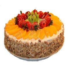 Cream cheese cake #fruit #peach #kiwi #strawberry