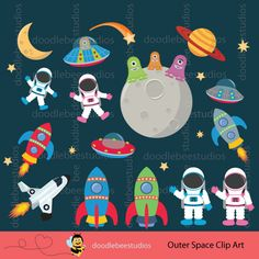 Outer Space Clipart Outer Space Digital by doodlebeestudios