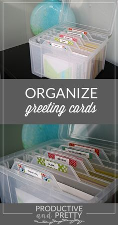 25 + › Organisieren Sie Grußkarten – Home Office-Organisation Organize Greeting Cards – Home Office Organization organize. Diy Storage Boxes, Craft Room Storage, Craft Rooms, Storage Ideas, Storage Containers, Craft Storage Solutions, Play Rooms, Ikea Storage, Storage Spaces