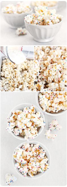 Ingredients    6-7 ounces (weight) white candy melts, melted    8-9 cups popped popcorn, lightly salted    sprinkles in your favorite color    Instructions    On a large baking sheet or bowl, gently mix in the melted white candy into the popped popcorn. Now for the sprinkles. Sprinkle the sprinkles before melted candy hardens.