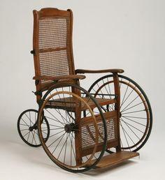 antique wheelchair   144: Vintage oak and cane wheelchair : Lot 144