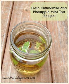 Chamomile and Pineapple Mint Iced Tea {Recipe}