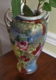 Hand Painted Vase Tall Blue Vases with Roses Hand by KathyKupboard