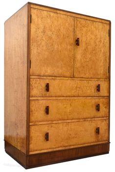 Art Deco Blonde BirdsEye Maple Tall Boy - Antiques Atlas