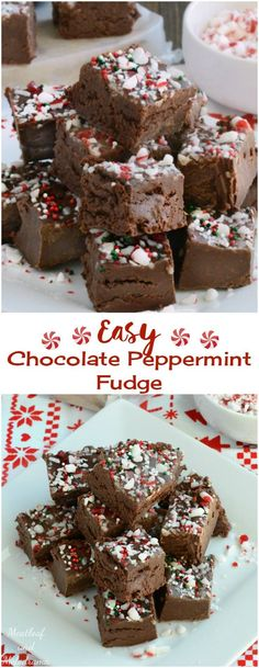 Easy Chocolate Peppermint Fudge - Only 4 ingredients needed for this easy no bake Christmas holiday treat!