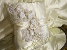 Wedding Lace Ring Bearer Pillow handmade of ivory by PapernLace, $29.95
