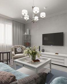 Kényelem és praktikus megoldások egy 85m2-es háromszobás lakásban - szürke, kék, fehér, bézs színpaletta