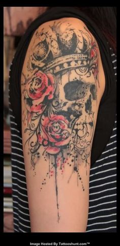 abstract rose tattoo | File Name : abstract-rose-and-grey-ink-skull-tattoo-on-shoulder.jpg ...
