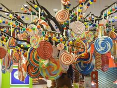 hanging lolipops about candy display