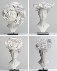 The sumptuous paper hats created by Katsuya Kamo for the Chanel 2009 collection Paper Fashion, Fashion Art, Fashion Design, Origami Fashion, Body Adornment, Recycled Fashion, Headdress, Wearable Art, Paper Art
