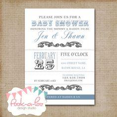 Baby Boy Shower  Printable Invitation by PookalooDesignStudio, $10.00