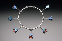 """Nilam  from Color Series: Dissemblance  1999  sterling silver, fine silver, enamel, glass  7"""" x 7"""" x .5""""  one-of-a-kind"""