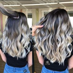 Best Ombre Hair, Ombre Hair Color, Hair Color Balayage, Hair Highlights, Color Highlights, Black Hair With Blonde Highlights, Bright Blonde, Brunette Color, Blonde Balayage