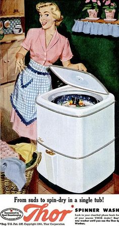 Hey, look at my Thor washing machine! Vintage Happy Housewife showing off.