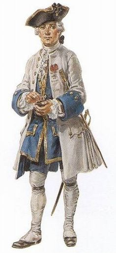 """Officer of the Compagnies franches de la Marine, circa 1750 - """"This elegant officer with his snuffbox dates from about 1750. The cut of the garments evolved with fashion, which Canadian officers followed closely. This man is also a member of the Order of Saint-Louis, as the white cross and red ribbon of the order on his left breast shows. Reconstruction by Eugène Lelièpvre."""""""