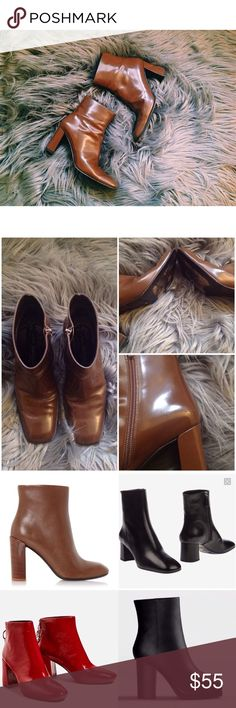 Italian Leather Square-Toe Ankle Boots Brand : Via Spiga - Labeled Acne for style inspiration! Beautiful true brown boots, great condition. Only wear is on the soles and a small scuff on the inside of one of the boots. Acne Shoes Ankle Boots & Booties