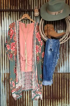 "- Floral and paisley kimono duster. - Deep sage with romantic rose floral. - Broken pattern. - Wide open sleeves hit at the elbows. - Length comes to around the knees on a 5'6"" woman. - Soft and light"