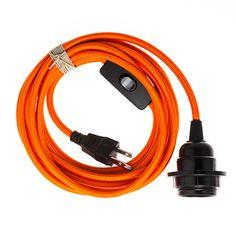 Pendant Light Cord (grounded plug) - Orange
