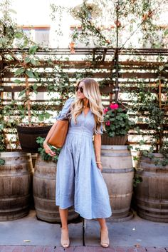 Elle Apparel | Blue Chambray button-up spring dress