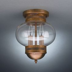 "Northeast Lantern Onion 10"" 2 Light Sockets No Cage Semi Flush Mount Finish: Dark Antique Brass, Shade Color: Clear"