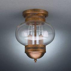 "Northeast Lantern Onion 10"" 2 Light Sockets No Cage Semi Flush Mount Finish: Verdi Gris, Shade Color: Clear"
