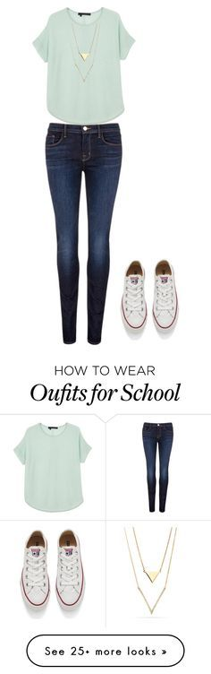 """""""School Outfit"""" by rutherford-3 on Polyvore featuring J Brand, 360 Sweater and Converse"""