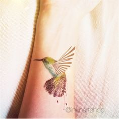 Humming bird tattoo illustration colored  InknArt by InknArt