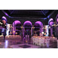 Picture-perfect setup with wonderful #purple #uplighting transform this lovely venue. Great photo via #trustedhost
