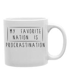 This 'My Favorite Nation Is Procrastination' Coffee Mug by Imaginarium Goods is perfect! #zulilyfinds