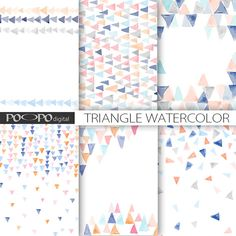 Watercolor triangle paper digital watercolour hand painted scrapbooking invitation invites card pattern pink blue gray geometric stationary