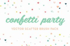 Confetti Party Scatter Brushes ~~ Confetti Party is a pack of vector scatter brushes created for flexible use in Illustrator. The pack comes with a set of circles, stars, and hearts, each with a variety of sizes and layouts (see the 2nd screenshot for the full brush set).