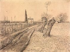 Landscape with Path and Pollard Trees, 1888, Vincent van Gogh Medium: pencil, ink on paper