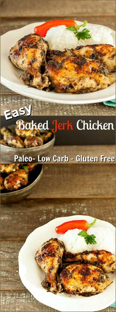 Easy Baked Jerk Chicken Low Carb - An easy paleo, low carb and healthy Jerk chicken Recipe made in the oven. Low Carb Chicken Recipes, Paleo Recipes, New Recipes, Low Carb Recipes, Real Food Recipes, Yummy Food, Paleo Meals, Protein Recipes, Ketogenic Recipes