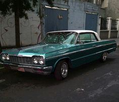 OLD PARKED CARS 1964 Chevy Green, #green car, #1964