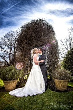 The newlyweds enjoying a kiss at Lumley Castle Durham