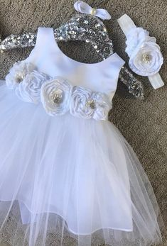 6a36ed51aeee Baptism Baby Girl Dress Christening baby Dress white Baby Girl dress girls Communion  dress Naming Ce