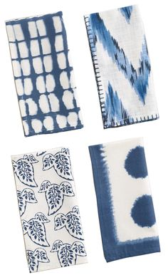 Blue and White Ikat Napkins via The Pursuit of Style Scandinavian Style, Textile Patterns, Print Patterns, Room Of One's Own, Printed Napkins, Wedding Shower Invitations, Blue Chevron, Budget, Sweet Home