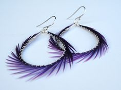 """Love these, they match my hair!!!  An enchanting color of purple and my new favorite go to pair of feather hoop earrings for spring!All metal is sterling silverHoop measures 2""""View the complete collection here:"""